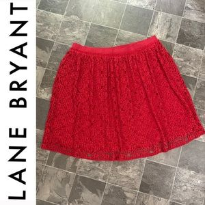 ✨Lane Brant Red Lace Midi Skirt✨
